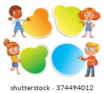 pupils pointing at a poster.... | Shutterstock .eps vector #374494012