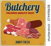 butchery poster in vintage... | Shutterstock .eps vector #374498638