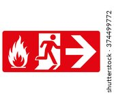 red signpost  fire output  on... | Shutterstock .eps vector #374499772