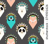 cute seamless pattern with... | Shutterstock .eps vector #374501626
