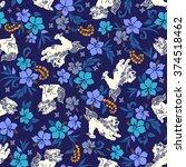 hibiscus orient lion pattern | Shutterstock .eps vector #374518462
