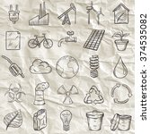 ecology icons set. hand drawn... | Shutterstock .eps vector #374535082