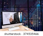 the computer on the wood table... | Shutterstock . vector #374535466