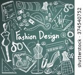 fashion design education chalk... | Shutterstock .eps vector #374540752