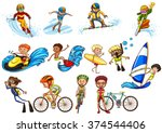 people doing different sports... | Shutterstock .eps vector #374544406