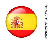 the spanish flag. round glossy... | Shutterstock . vector #374547832