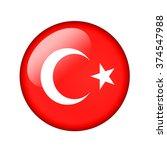 the turkish flag. round glossy... | Shutterstock . vector #374547988