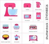 vector image set of kitchen... | Shutterstock .eps vector #374548816