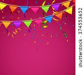 party background with flags... | Shutterstock .eps vector #374553652