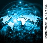 world map on a technological... | Shutterstock . vector #374575456