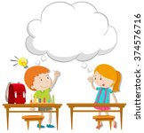 boy and girl with thinking... | Shutterstock .eps vector #374576716