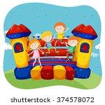 children jumping on the... | Shutterstock .eps vector #374578072