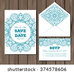wedding set with lace elements. ... | Shutterstock .eps vector #374578606