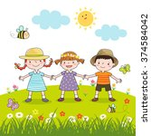 happy children holding hands on ... | Shutterstock .eps vector #374584042