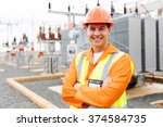 handsome electrical engineer... | Shutterstock . vector #374584735