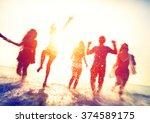 friendship beach summer splash... | Shutterstock . vector #374589175