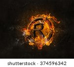 copyright symbol burning in fire | Shutterstock . vector #374596342