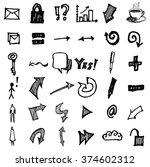 vector doodle icons. universal... | Shutterstock .eps vector #374602312