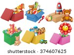 six boxes of toys illustration | Shutterstock .eps vector #374607625