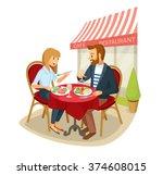 vector couple having a dinner... | Shutterstock .eps vector #374608015