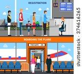 airport horizontal banners set... | Shutterstock .eps vector #374616265