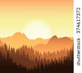 Sunrise In The Mountain. Vector ...