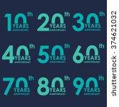 anniversary icon set.... | Shutterstock .eps vector #374621032