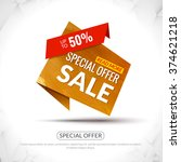 sale tag in paper origami style ... | Shutterstock .eps vector #374621218