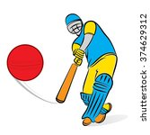 cricket player hitting big... | Shutterstock .eps vector #374629312