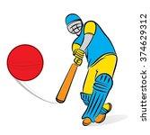cricket player hitting big... | Shutterstock .eps vector #374629312