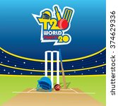 creative t20 cricket world cup... | Shutterstock .eps vector #374629336