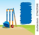 cricket ground with stump bat... | Shutterstock .eps vector #374629348