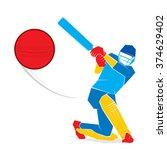 cricket player hit big shoot ... | Shutterstock .eps vector #374629402