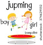 boy and girl jumping on... | Shutterstock .eps vector #374629552