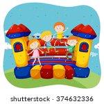children jumping on the... | Shutterstock .eps vector #374632336