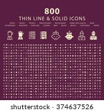set of 800 thin line and solid... | Shutterstock .eps vector #374637526