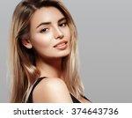 blonde woman beauty portrait... | Shutterstock . vector #374643736