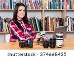 beautiful young brunette... | Shutterstock . vector #374668435
