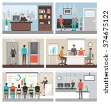 business people working in the... | Shutterstock .eps vector #374675122