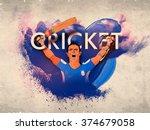 cricket batsman in winning pose ... | Shutterstock .eps vector #374679058