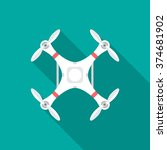 drone icon with long shadow.... | Shutterstock .eps vector #374681902