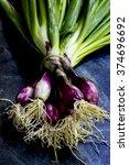 bundle of fresh red scallions...   Shutterstock . vector #374696692