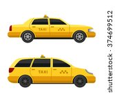 Yellow Taxi Cars Set On White...