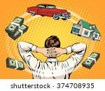 business dreams buyer home car... | Shutterstock .eps vector #374708935