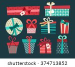 gift wrapping with ribbons and ...   Shutterstock .eps vector #374713852