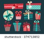 birthday gift box cartoon... | Shutterstock .eps vector #374713852