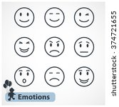 black simple emotions faces... | Shutterstock . vector #374721655
