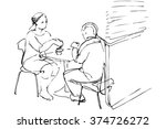 man and woman at a table in a... | Shutterstock .eps vector #374726272