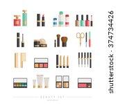beauty icons set   cosmetics ... | Shutterstock .eps vector #374734426