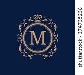 elegant floral monogram design...   Shutterstock .eps vector #374735236